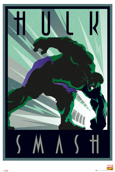 Art Deco Marvel Maxi Poste. Hulk Smash
