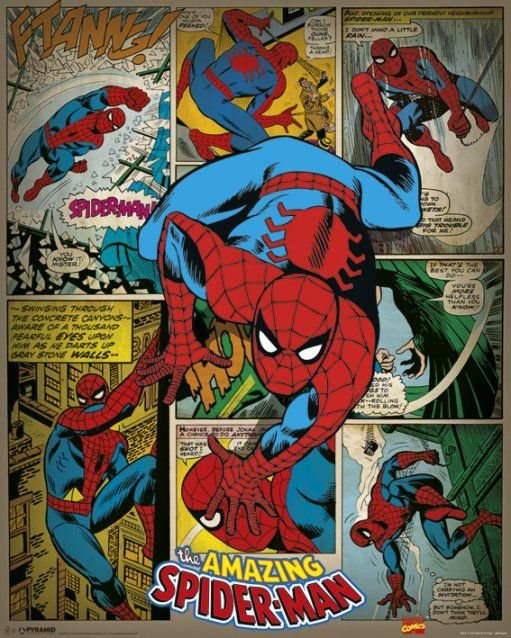 Spiderman Mini Poster. Retro Comic Strip Art. Marvel
